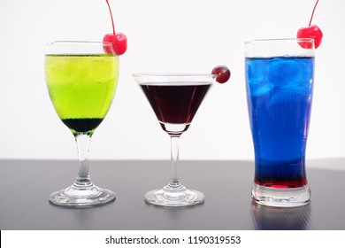 colorful summer cocktail on white background
