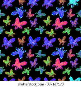 Colorful summer flowers - light pattern. Naive, primitive art, children's style. Seamless raster floral pattern. Hand paint watercolor cactus, succulent on a black background.