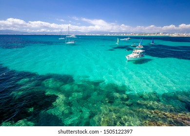 Colorful summer landscape with bay, boat, blue water, sky. Balearic islands Mallorca. View on Palma de Mallorca