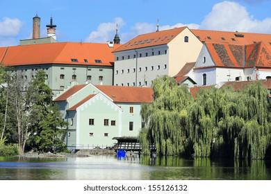 Colorful summer medieval Town Pisek above the river Otava, Czech Republic