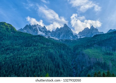 Colorful summer panorama of Mont Blanc on the background, Chamonix location. Beautiful outdoor scene in Vallon de Berard Nature Reserve, Graian Alps, France, Europe.
