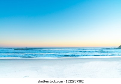 Colorful summer sea view at sunrise background at mount Maunganui New Zealand