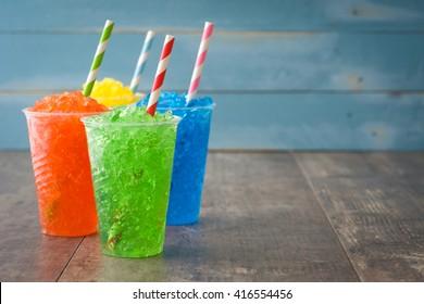 Colorful summer slushies