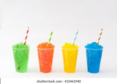 Colorful summer slushies isolated on white background