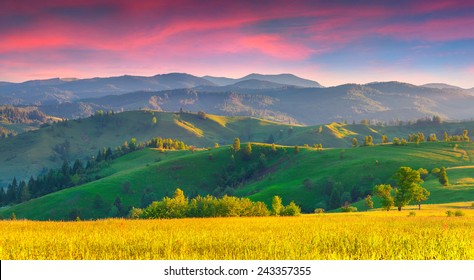 Colorful summer sunrise in the Carpathian mountains with rolling hills and valleys in golden morning light