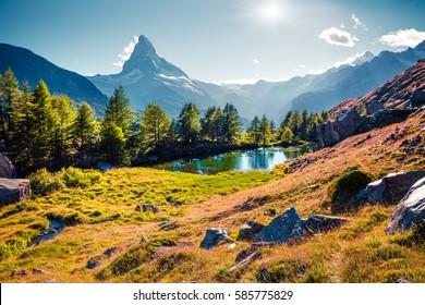 Colorful summer sunrise on the Grindjisee lake. Reflection of Matterhorn (Monte Cervino, Mont Cervin) peak in the watter surface. Beautiful outdoor scene in Swiss Alps, Zermatt location, Switzerland.