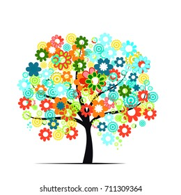 colorful summer tree on white background