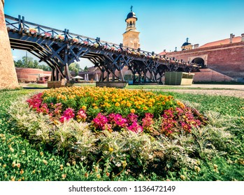 Colorful summer view of Coronation Orthodox Cathedral in Fortress Of Alba Iulia. Sunny morning scene of Transylvania, Iulia Alba city, Romania, Europe. Traveling concept background.