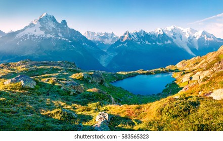 Colorful summer view of the Lac Blanc lake with Mont Blanc (Monte Bianco) on background, Chamonix location. Beautiful outdoor scene in Vallon de Berard Nature Reserve, Graian Alps, France, Europe.