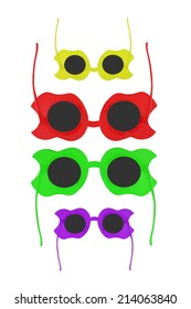 Colorful sunglasses isolated on white background