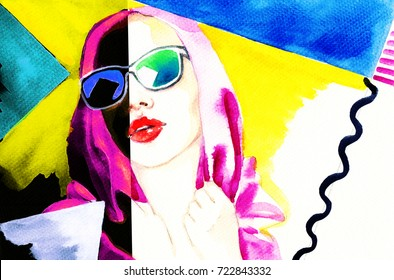 colorful sunglasses. watercolor painting. fashion illustration