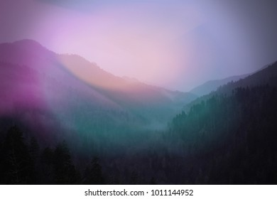 Colorful Sunlight Blurs of Pink and Green Landscape Photograph of Smokey Mountains.