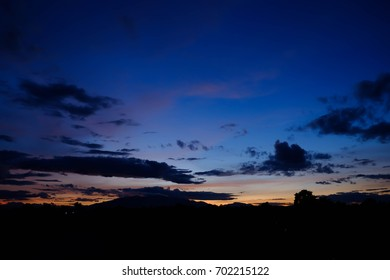 Colorful sunlight, Silhouette of mountain