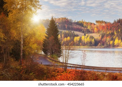 Colorful sunny autumn landscape with golden colored trees, water and sky, National park Slovak paradise, Slovakia - Shutterstock ID 454223665
