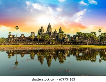 Colorful sunrise in Angkor Wat, Cambodia