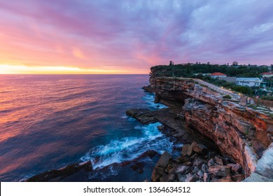 Colorful sunrise clouds view over The Gap cliff, Watsons Bay, Sydney, Australia.