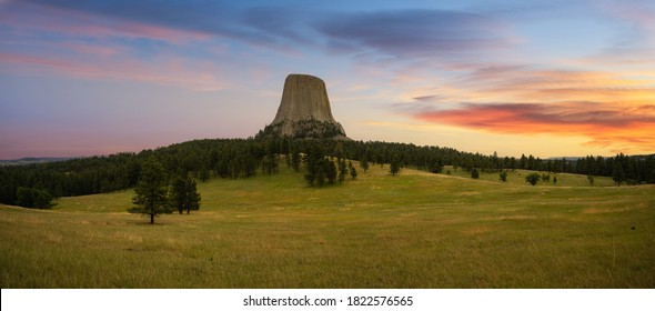 Colorful sunrise at Devils Tower in Wyoming