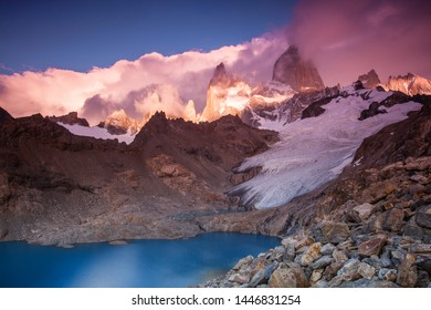 Colorful sunrise at Laguna de los tres in the Andes of Argentina