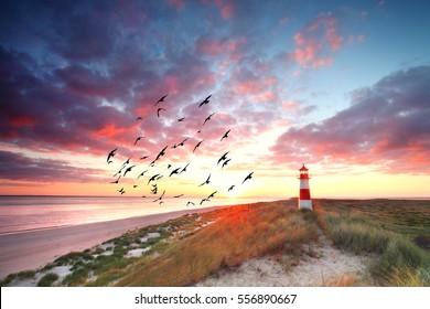 colorful sunrise at Lighthouse List East on Sylt.