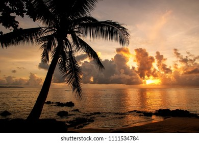Colorful sunrise  on the beach in Lavena village on Taveuni Island, Fiji. Taveuni is the third largest island in Fiji.