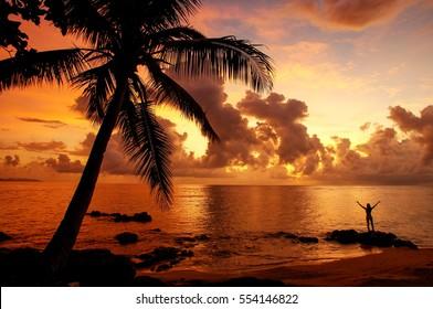 Colorful sunrise  on the beach in Lavena village on Taveuni Island, Fiji. Taveuni is the third largest island in Fiji.