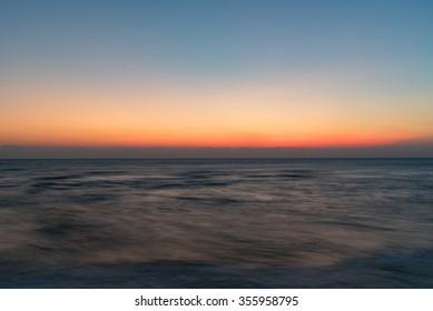 Colorful of sunrise on the ocean beach