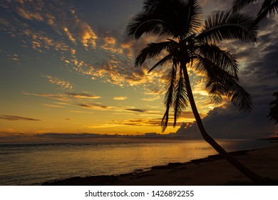 Colorful sunrise on the Tambua Sands Beach on Fiji Island, Fiji