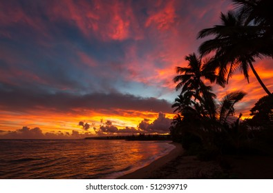 Colorful sunrise over the beach on the north shore of Oahu Hawaii