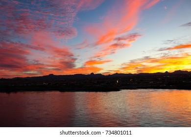 Colorful sunrise over the Colorado River.
