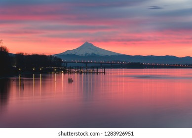Colorful sunrise over Columbia River and Mt Hood