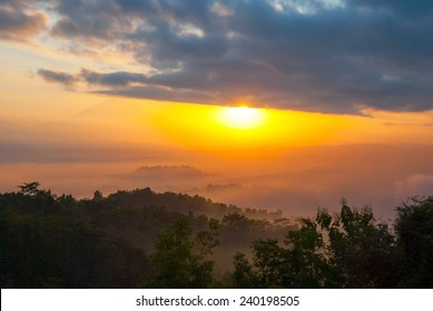 Colorful sunrise over jungle with Merapi volcano behind and Borobudur temple, Indoneisa