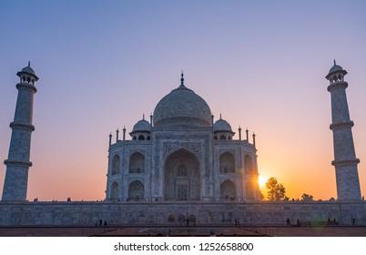 Colorful sunrise in Worldwonder that is Taj Mahal in India