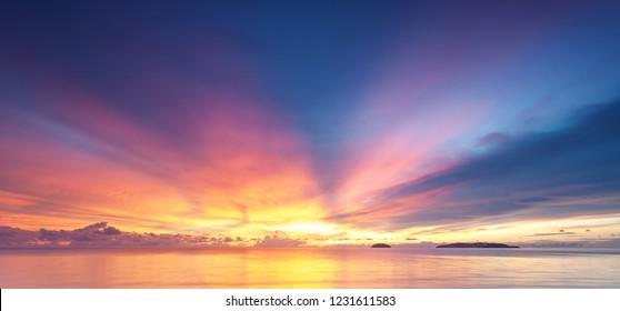 Colorful sunset background, Kota Kinabalu Sabah Borneo Malaysia.