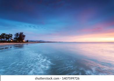 Colorful sunset background in long exposure - Kota Kinabalu Sabah Borneo Malaysia.