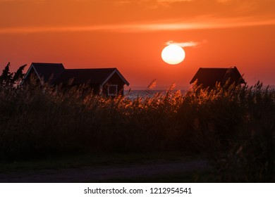 Colorful sunset by the coast of the Baltic Sea at the swedish island Oland