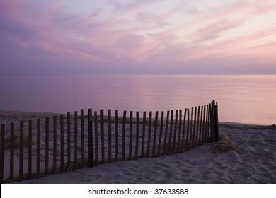 Colorful sunset by Lake Michigan