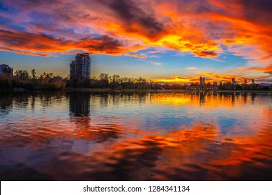 Colorful Sunset at City Park in Denver, Colorado