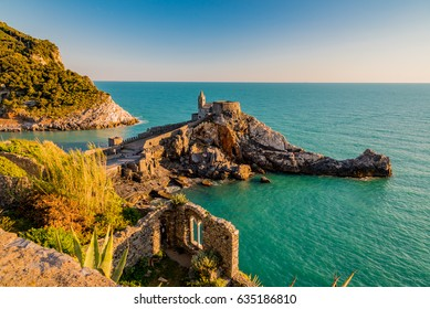 Colorful sunset from the cliff of the castle of Portovenere in liguria italy in the province of La Spezia