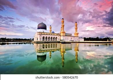 Colorful sunset colors at Kota Kinabalu mosque, famous landmark in Kota Kinabalu, Sabah Borneo, Malaysia.