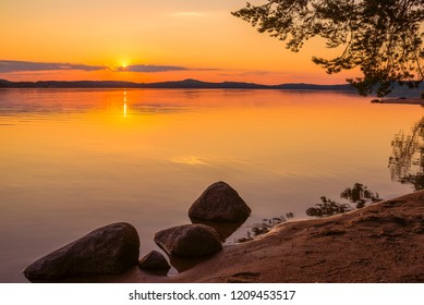 Colorful sunset at Finnish shore