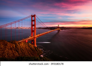Colorful sunset at the Golden Gate Bridge in San Francisco, California, USA