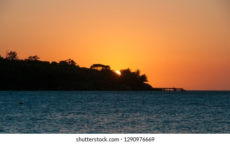 Colorful sunset at Ilhabela island in Brazil