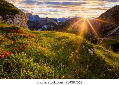Colorful sunset in Julian Alps