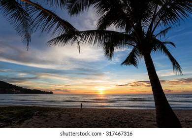 Colorful sunset at Kamala beach
