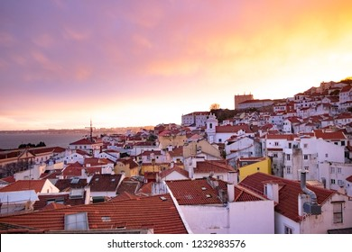 Colorful sunset in Lisbon, Portugal