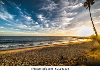 colorful sunset in Malibu, California