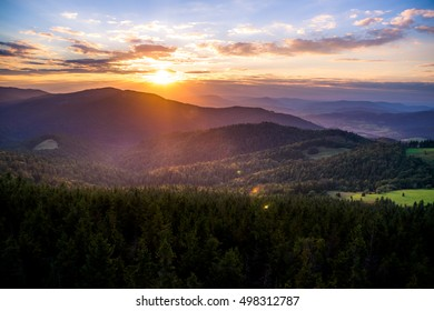 Colorful sunset in mountains. Photo was taken in Gorce mountains a part of Beskidy Mountains in Poland, View from Gorc peak,