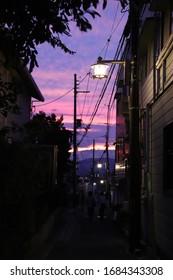 Colorful sunset in Nara, Japan