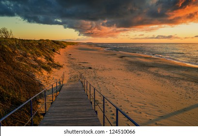 Colorful sunset on Curonian Spit, Lithuania