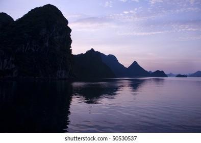 Colorful sunset on Ha long Bay, Vietnam